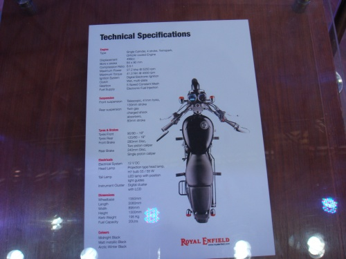 Royal Enfield Thunnderbird 500 Technical Specifiactions